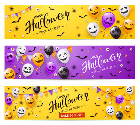 Set of purple and orange Halloween banners. Spiders, bats, balloons with scary smiles and text Happy Halloween and Sale. Illustration for children's holiday design, decoration, cards, banner, template