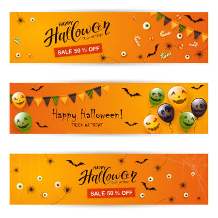 Set of orange Halloween banners. Black spiders, bats and balloons with scary smiles and text Happy Halloween and Sale. Illustration for children's holiday design, decoration, cards, banners, template