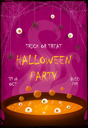 Halloween Party banner. Scary eyes and spiders on web on purple background. Orange potion in cauldron with eyes and bubbles. Illustration for cards, children's holiday design, invitations, banners