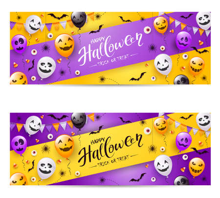 Happy Halloween banners. Black spiders, bats, eyes and balloons with scary smiles on purple and yellow background. Illustration for children's holiday design, decoration, cards, banners, template.