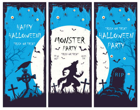 Set of Halloween banners with silhouette of werewolf in cemetery on blue background. Holiday card with bats, eyes and spiders. Illustration for holiday cards, invitations, banners, Halloween templates 矢量图像