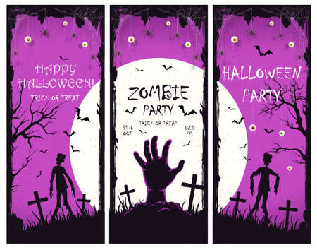 Scary monster hand with zombies on cemetery. Set of purple Halloween banners with Zombie Party. Illustration can be used for children's holiday design, cards, invitations, banners, Halloween templates 矢量图像