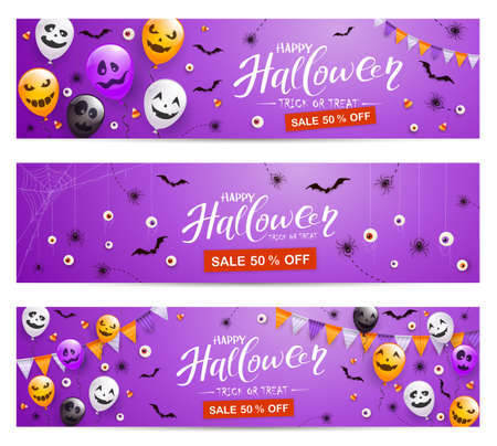 Set of purple Halloween banners with Sale. Spiders, bats, balloons with scary smiles and text Happy Halloween. Illustration for children's holiday design, decoration, cards, banner, Halloween template 矢量图像