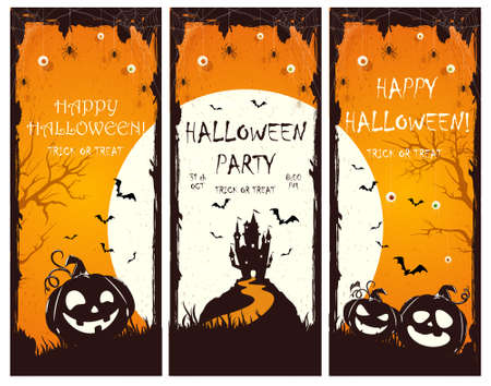 Set of Halloween banners with silhouette of castle and pumpkins on orange background. Holiday card with bats and spiders. Illustration for holiday cards, invitations, banners, Halloween templates 矢量图像
