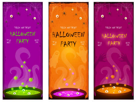 Set of Halloween Party banners. Scary eyes and spiders on web. Orange, green and purple potion in cauldrons with eyes and bubbles. Illustration for cards, children's holiday design, invitation, banner 矢量图像