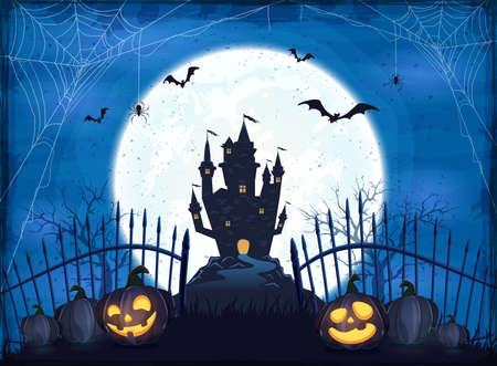 Pumpkins near the fence on blue Moon background with dark scary Castle. Holiday card with Jack O Lanterns, bats and spiders. Illustration in cartoon style can be used for holiday cards, banners 矢量图像