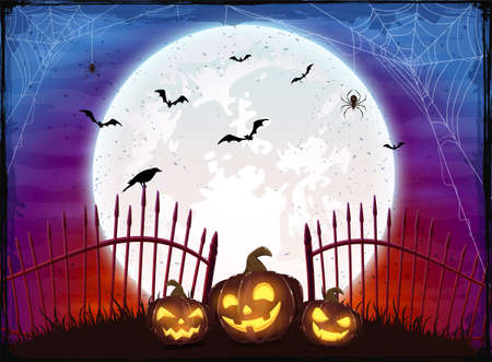 Set of Pumpkins near the fence on purple and red Moon background. Holiday card with Jack O Lanterns, bats and spiders. Illustration in cartoon style for holiday design, decoration, cards, banner