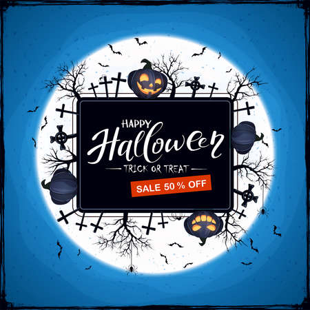 Black Halloween banner with lettering Sale and happy pumpkins with spiders and trees. Halloween background with Jack 'o Lantern. Illustration for children's holiday design, cards, invitations, banners