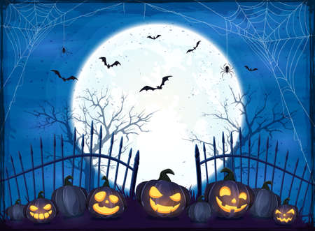 Set of Pumpkins near the fence on blue Moon background. Holiday card with Jack O Lanterns, bats and spiders. Illustration in cartoon style can be used for holiday design, decoration, cards, banner 矢量图像