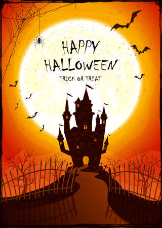 Scary Castle with fence on orange Moon background. Holiday card with bats and spiders. Illustration in cartoon style can be used for children's holiday design, decoration, cards, banners, templates