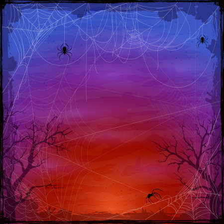Halloween purple background with spider webs. Holiday Halloween card with grunge border and cobwebs. Illustration can be used for children's holiday design, decorations, cards, banners, templates