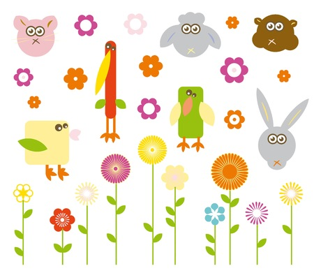 Set of cute vector animals and flowers Vector