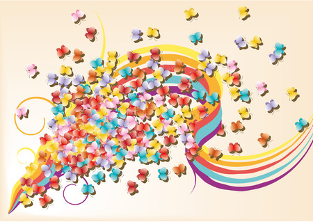 Beautiful background with butterflies and rainbow Vector