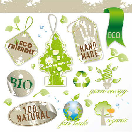 set of new ecological elements Vector