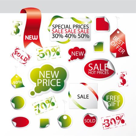 advertisements: Set of easy editable market symbols