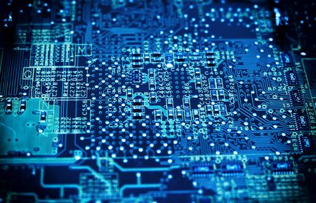 Ð¡ircuit board. Computer techologies, toned blue color.