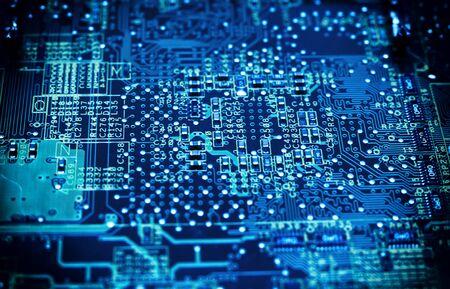 Scheda del circuito. Tecnologie informatiche, tonalità di colore blu.