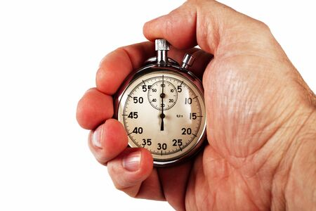 Hand of a sports coach with a stopwatch, white background, isolate, close-up