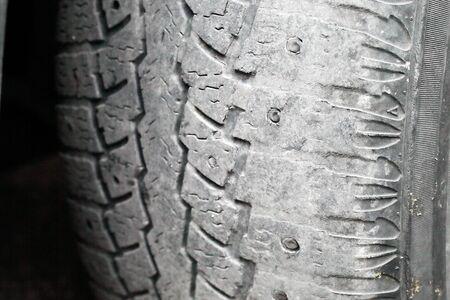 car tire, increased tire edge wear, macro, soft focus Stockfoto