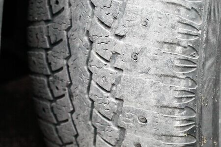 car tire, increased tire edge wear, macro, soft focus