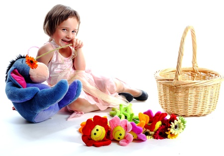 belonging to the caucasoid race: the girl with toys Stock Photo