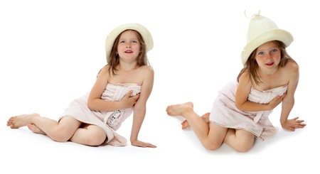 little girl bath: the girl after a sauna is photographed in a bathing towel