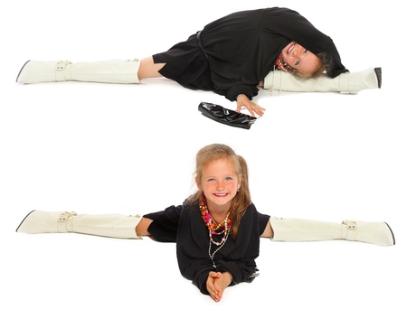 the girl the gymnast shows exercises in mother photo