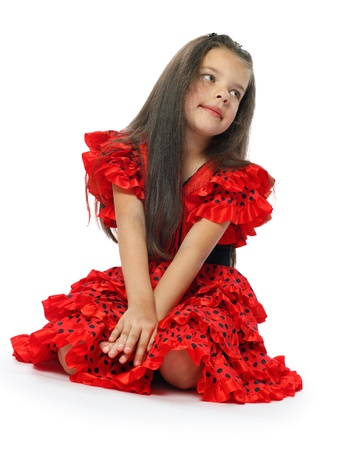 the girl in a red Spanish dress  series  Stock Photo