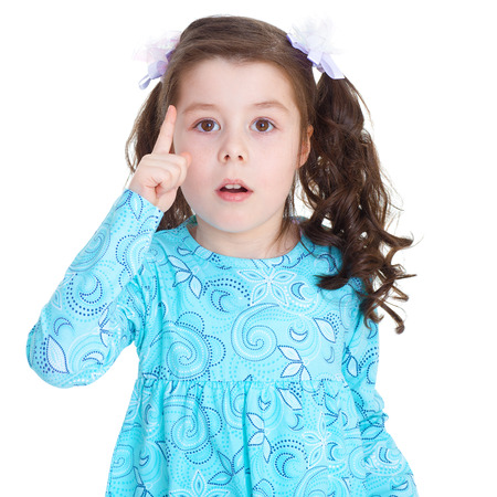little girl warns.Isolated on white  . Stock Photo