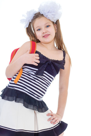 shool: Kids,girl,child and shool -Child with schoolbag. Girl with school bag isolated on white