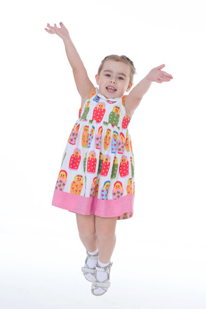 lassie: girl, baby, girlie, lass, female child, lassie concept- little girl jumping