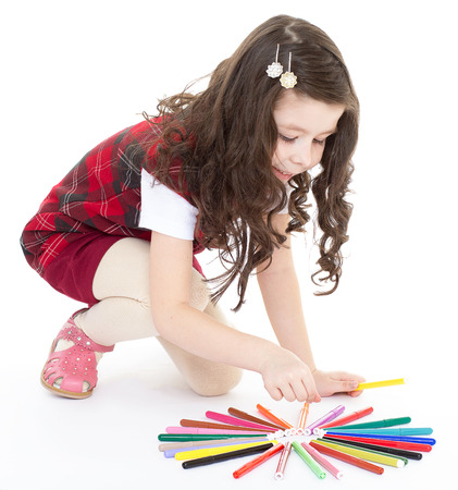 Kids,girl,kid,child- child girl drawing with colourful pencils photo