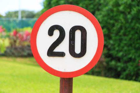 prohibitive: speed limit sign 20 kilometers Stock Photo