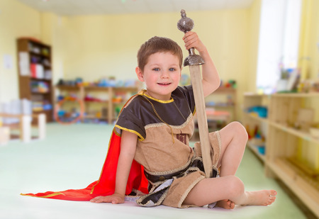 little boy dressed as a Roman soldier photo