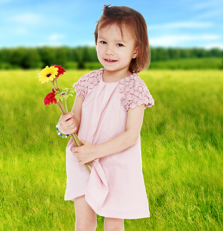 Girl with flowers in summer field.happy childhood,sweet child having fun outdoor,smiling toddler portrait photo