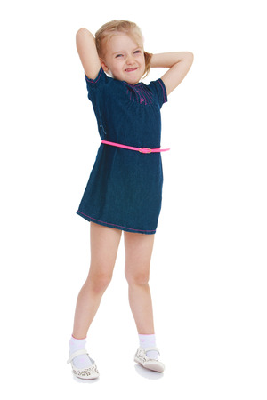 untidiness: girl stretches pleasure isolated on white .Photo in kindergarten,active lifestyle,happiness concept,carefree childhood concept.