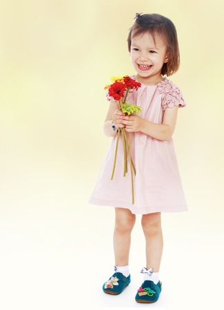 The girl in a pink dress with a bouquet of flowers Happiness concept,happy childhood photo