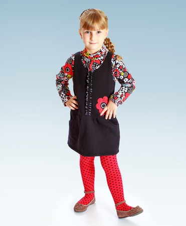 put forward: Charming girl put forward leg The childhood joy of life youth concept  Stock Photo