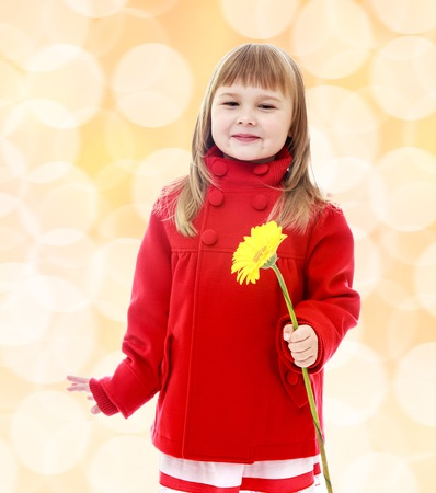 Little girl in a red coat and holding flowers.The concept of the new year, christmas, happy childhood. photo
