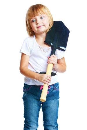 only baby girls: little girl entrenching shovel, isolated on white  Stock Photo