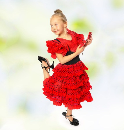 3 persons only: Girl in long red dress and high shoes