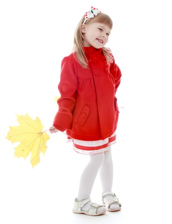 baby 4 5 years: Happy childhood, fashion, autumnal mood concept. Isolated on white background