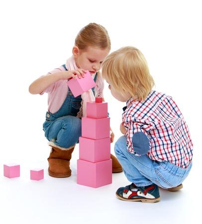 Children playing with blocks photo