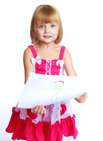 drawed: Happy childhood, joy of learning, creativity, child concept.little girl in a red dress draws.Isolated on white background.