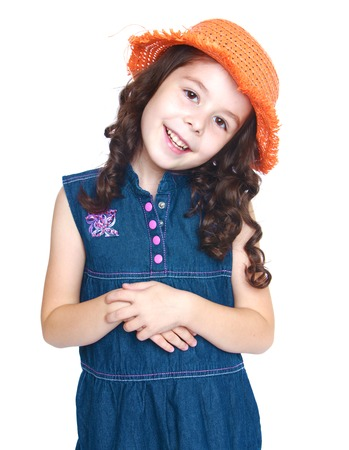 baby 4 5 years: portrait of a charming young girl in a hat.Isolated on white background portrait.