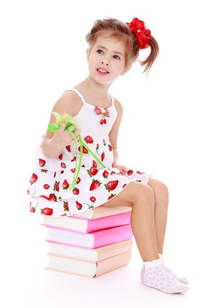 classbook: Adorable little girl in a summer dress sitting on a pile of books.Isolated on white background.
