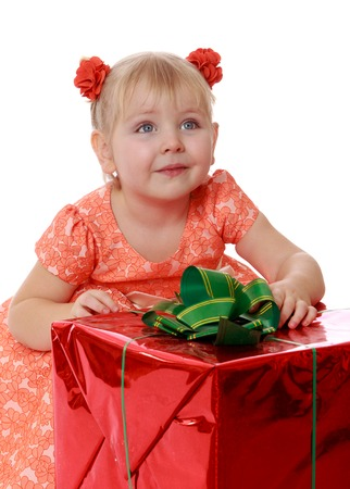solated on white: Beautiful elegant girl with a great gift. solated on white.