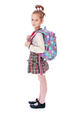 satchel: Beautiful elegant schoolgirl with satchel on his back. Isolated on white.