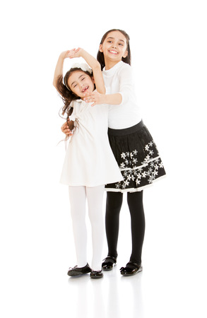 beauties: stylish little sister, oriental beauties- isolated on white background Stock Photo