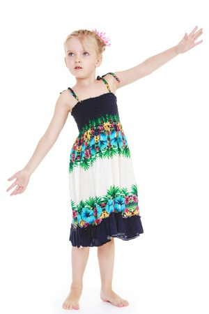 barefoot blonde: Barefoot blonde girl in summer dress waving his hands- isolated on white background